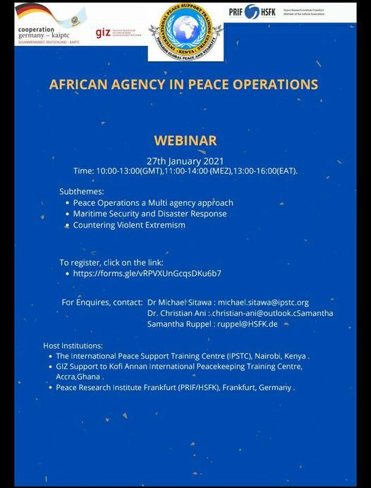 WEBINAR FOR AFRICA AGENCY IN PEACE OPERATIONS